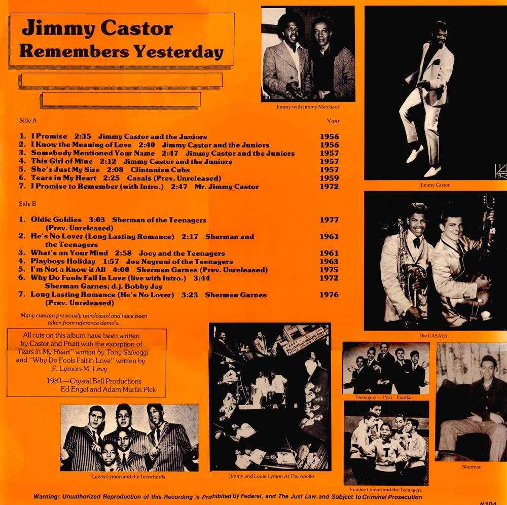 Jimmy Castor Remembers Yesterday (Back)
